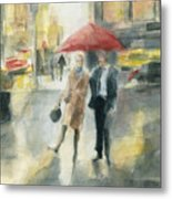 Red Umbrella New York City Metal Print
