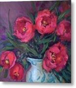 Red Velvet Tulips Metal Print