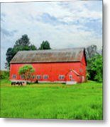 Red Vermont Barn Metal Print