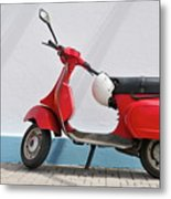 Red Vespa Scooter By Wall Metal Print