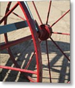 Red Waggon Wheel Metal Print