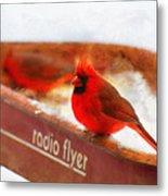 Red Wagon Winter Metal Print