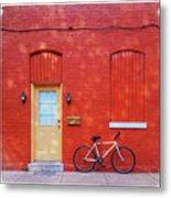 Red Wall White Bike Metal Print