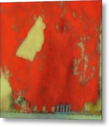 Red Wall With Boot  Metal Print
