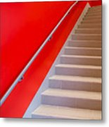 Red Walls Staircase Metal Print