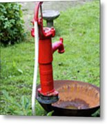 Red Water Pump Metal Print