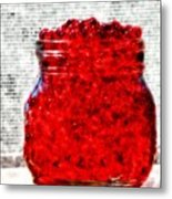 Red Watercolor Beads Metal Print