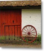 Red Wheel And Barn In Sweden Metal Print