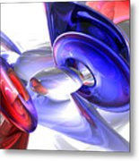 Red White And Blue Abstract Metal Print