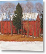 Red White And Blue Barn Metal Print