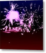 Red White And Blue Fireworks Metal Print