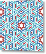 Red White And Blue Fireworks Pattern- Art By Linda Woods Metal Print