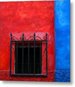 Red Window With Blue By Darian Day Metal Print