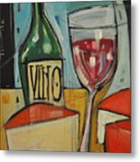 Red Wine And Cheese Metal Print
