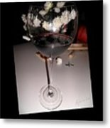 Red Wine With White Mums Metal Print