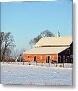 Red Winter Barn Metal Print