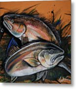 Redfish Frenzy Metal Print