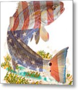 Redfish, White And Blue Metal Print