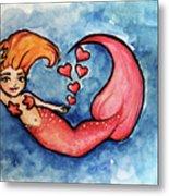 Redhead Mermaid Metal Print