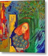 Redhead With Flowers Metal Print
