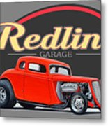 Redline Hot Rod Garage Metal Print