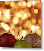 Red,yellow And Gold Cristmas Baubles Metal Print
