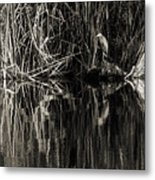 Reeds And Heron Metal Print