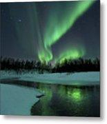 Reflected Aurora Over A Frozen Laksa Metal Print