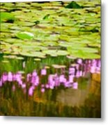 Reflected Flowers And Lilies Metal Print