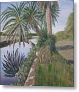 Reflected Palms Metal Print