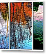 Reflecting On Autumn - Triptych Metal Print