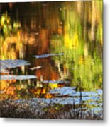 Fall Reflections 5 On Jamaica Pond Metal Print