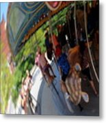 Reflection Of A Merry Go Round Metal Print