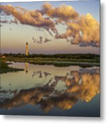 Reflection Of Clouds And Lighthouse Metal Print