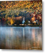 Reflection Of Little White Church With Fall Foliage Metal Print
