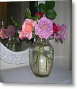 Reflection Of Roses Metal Print