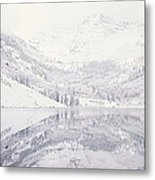Reflection Of Snowcapped Mountains Metal Print