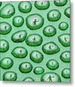 Reflection Of Waving Man In Water Droplets On Green Metal Print
