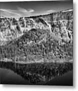 Reflection Of Wizard Island Crater Lake B W Metal Print