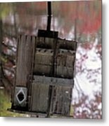 Reflection Of Wood Duck Box In Pond Metal Print