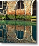 Reflection On Canal In Venice Metal Print