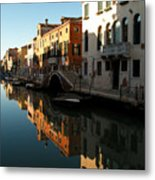 Reflection On The Cannaregio Canal In Venice Metal Print