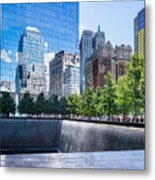 Reflections At 911 Memorial Metal Print