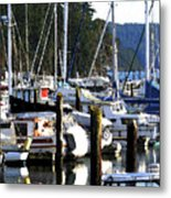 Reflections At Dock Metal Print