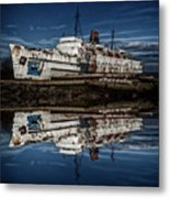 Reflections From The Duke Of Lancaster Ship  Metal Print