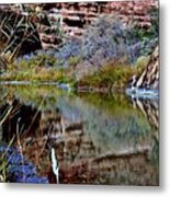 Reflections In Desert River Canyon Metal Print