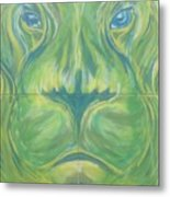 Reflections In The Lions Eyes Metal Print