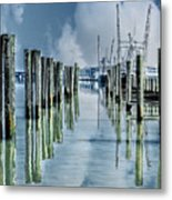Reflections In The Marina Metal Print