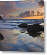 Reflections In The Sand Metal Print