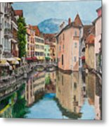 Reflections Of Annecy Metal Print